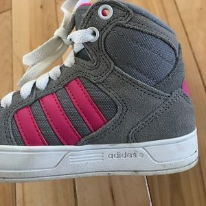 Adidas toddler Neo high top sneakers pink gray 11